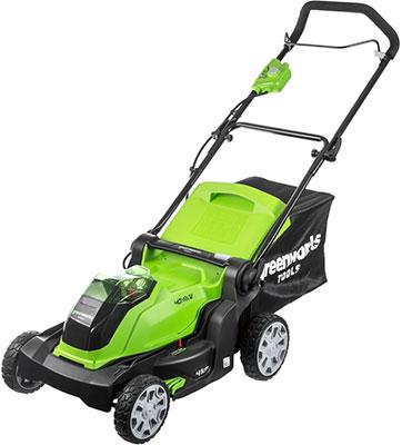 Фото - Колесная газонокосилка Greenworks 40 V G-max G 40 LM 40 без аккумулятора и зарядного устройства 2504707 газонокосилка partner b305cbs
