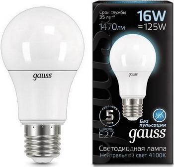 Лампа GAUSS LED A 60 16 W E 27 4100 K 102502216