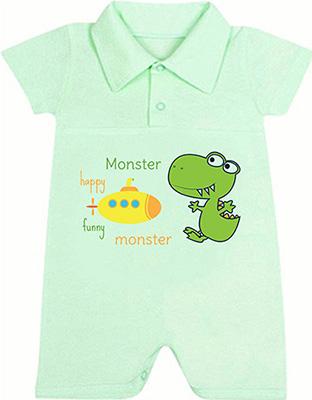 Песочник-поло Idea Kids, Happy Monster с коротким рукавом для мальчика 100% хлопок кулиска Рт.74 Зеленый 0005хм, Россия  - купить со скидкой