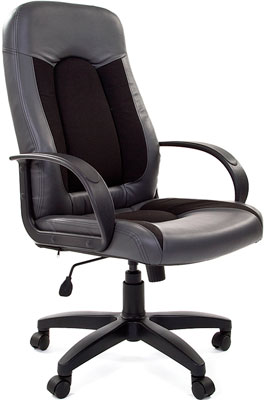 Офисное кресло Chairman 429 экопремиум серый+ткань 10-356 черная