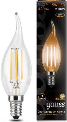 Лампа GAUSS Filament Свеча на ветру E 14 5W 2700 K 104801105 лампа светодиодная gauss e14 5w 2700k свеча на ветру прозрачная 1 10 50 104801105