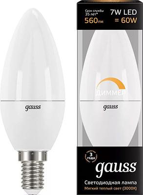 Лампа GAUSS LED Свеча-dim E 14 7W 560 lm 3000К диммируемая 103101107-D россия звезда ольга с хр