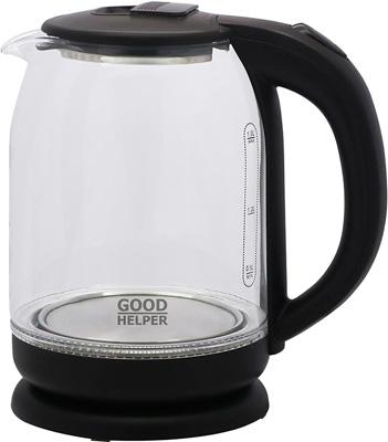 Чайник электрический GoodHelper KG-18B10 чернный стекло чайник orion чэ с02 1 7л 2200 вт серый прозрачный 1 7 л пластик стекло