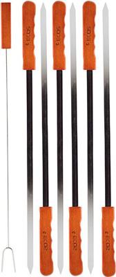 Шампуры Ecos с деревянными ручками 23003D (набор из 6 штук) нерж. в комплекте вилка для мяса. 999628 фото