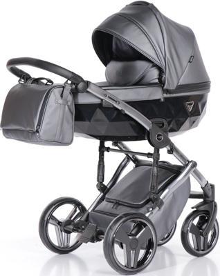 коляски 2 в 1 Коляска детская 2 в 1 Junama FLUO LINE JDFL-05 (кожа серый/короб черный/рама серебро)