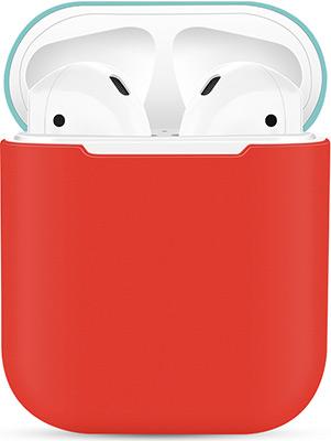 Фото - Чехол силиконовый Eva для наушников Apple AirPods 1/2 - Красный/Бирюзовый (CBAP03RTQ) чехол силиконовый eva для наушников apple airpods 1 2 розовый cbap04p