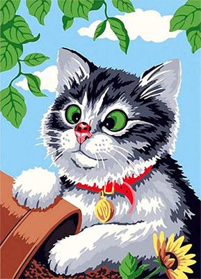 Алмазная мозаика Цветной Любопытный котенок (30х40) на подрамнике le072