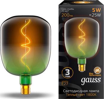 Лампа GAUSS LED Filament Flexible V140-DC Green-Clear E27 5W 200lm 1800K 140*200mm