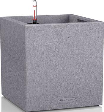 Фото - Напольное кашпо с автополивом Lechuza CANTO Stone 30 куб с субстратом в комплекте пластик серое Ш30 Д30 В30 см 12л 13700 кашпо lechuza canto 14см графит с автополивом