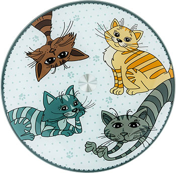 Тортовница вращающаяся Озорные коты Agness диаметр=32 см высота=3 серый 357-156