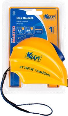 Рулетка Kraft 7 5м х 25мм Master KT 700756 паутинка клеевая 2 х сторонняяя на бумаге vliesifix t25 sb 25мм х 5м белый freudenberg