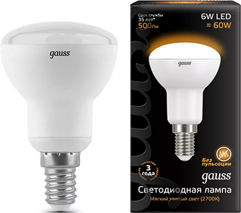 Лампа GAUSS LED R 50 E 14 6W 500 lm 3000 K 1/10/50 106001106 лампа odeon lg 45 e 14 w7 e 14 g 45 7w 3000 k