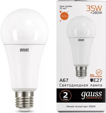 Лампа GAUSS LED Elementary A67 35W E27 2670lm 3000K 1/10/50 70215