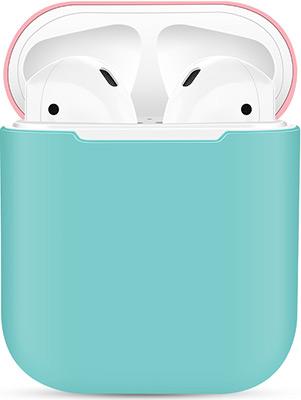 Фото - Чехол силиконовый Eva для наушников Apple AirPods 1/2 - Бирюзовый/Розовый (CBAP03TQP) браслет розовый кварц 17 см биж сплав