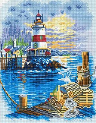 Фото - Алмазная мозаика Цветной ''Пирс у маяка'' (40х50) на подрамнике lg044 алмазная мозаика цветной букет нежных цветов 40х50 на подрамнике lg104