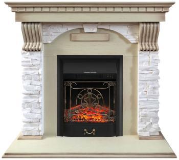 Каминокомплект Royal Flame Dublin арочный сланец крем с очагом Majestic Black (слоновая кость) (64909933)