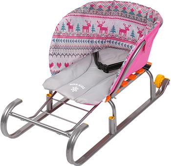 Сиденье для санок Nika Kids (без чехла для ног) вязаный узор розовый СС2-1