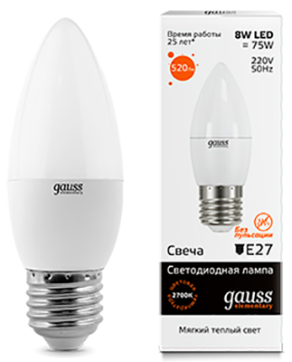 Лампа GAUSS LED Elementary Candle 8W E 27 2700 K 1/10/100 лампа gauss led candle e 14 6 5w 2700 k 103101107