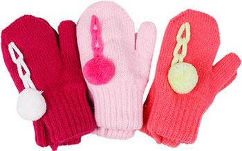 Варежки Hobby Line MARGOT BIS ''Itaka'' двойные с помпоном д/дРм.10 Розовый цена