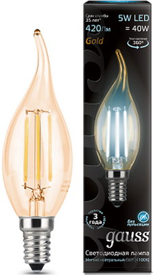 Лампа GAUSS Filament Свеча на ветру E 14 5W 4100 K Golden 104801805 лампа gauss filament свеча на ветру e 14 5w 4100 k golden 104801805