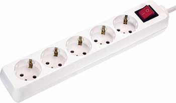 Удлинитель SCHWABE 5 розеток 1.4м выключатель с подсветкой кабель 3х1.5 250В 16А 3500Вт белый 35011 AS