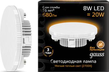 Фото - Лампа GAUSS LED GX 53 8W 680 lm 3000 K 1/10/100 108008108 лампа настольная zed led 1x6 7w 359 lm 230v 3000 k