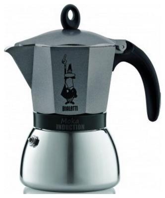 Гейзерная кофеварка Bialetti Moka Induzione antracite 4823 гейзерная кофеварка bialetti moka induzione 3 порции 4922 rossa