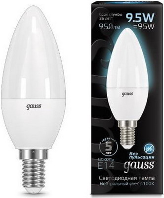 Лампа GAUSS LED Candle E 14 9.5W 4100 K 103101210