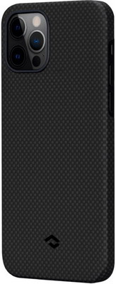 Чеxол (клип-кейс) Pitaka для iPhone 12 PRO/12 черно-серый (мелкое плетение) (KI1202P)