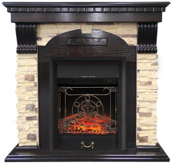 Каминокомплект Royal Flame Dublin арочный сланец с очагом Majestic Black (венге) (64879239) цена
