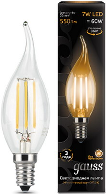 Лампа GAUSS Filament Свеча на ветру E 14 7W 2700 K 104801107 лампа odeon lg 45 e 14 w7 e 14 g 45 7w 3000 k
