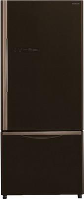 Двухкамерный холодильник Hitachi R-B 502 PU6 GBW коричневое стекло цена и фото