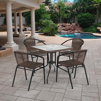 Комплект мебели Афина Асоль-3 орех TLH-037 BR2/070 SR-70х70 R-05 Brown 4Pcs afina набор мебели асоль 2в иск ротанг