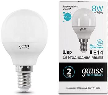 Лампа GAUSS LED Elementary Шар 8W E14 540lm 4100K 1/10/100 лампа gauss led elementary свеча на ветру 8w e14 540lm 4100k 34128 упаковка 10шт