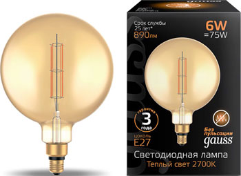 Лампа GAUSS LED Vintage Filament Straight G200 6W E27 200*283mm Amber 890lm 2700K