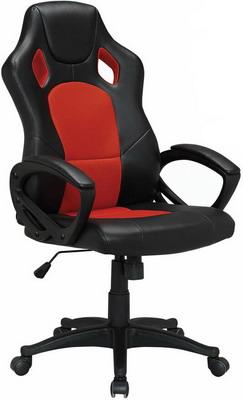 Кресло Brabix ''Rider EX-544'' экокожа черная/ткань красная 531583