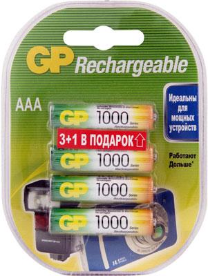 Комплект аккумуляторов GP АAА (LR03) 3 шт. и 1 бесплатно GP 100AAAHC3/1-2CR4 40/400