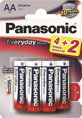 Батарейки Panasonic щелочные AA Everyday Power promo pack в блистере 6шт (LR6REE/6B2F)