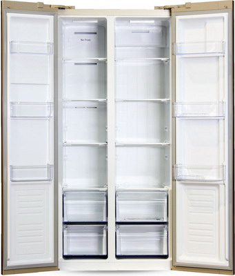 лучшая цена Холодильник Side by Side Ginzzu NFK-465 золотистое стекло