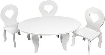Набор кукольной мебели Paremo для кукол ''Шик'': стол стулья цвет: белый