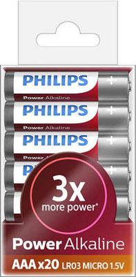 Батарейки Philips LR03P20T/10 Power Alkaline (AAA) (упаковка 20 шт)