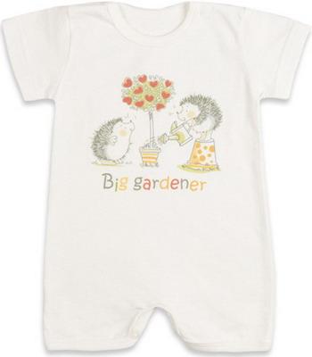 Песочник Idea Kids Ежики в саду с коротким рукавом 100% хлопок кулиска Рт.68 Экрю