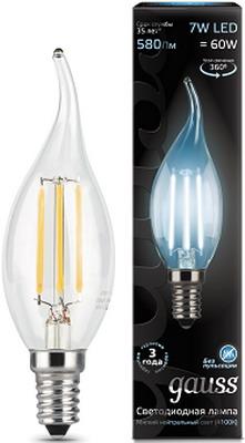 Лампа GAUSS Filament Свеча на ветру E 14 7W 4100 K 104801207 лампа odeon lg 45 e 14 w7 e 14 g 45 7w 3000 k