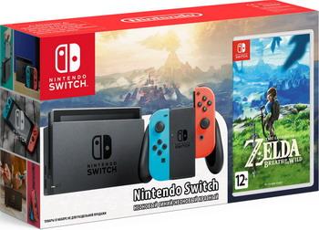 Игровая приставка Nintendo Switch (неоновый) The Legend of Zelda: Breath of the Wild kaiboer kbeh l 1 м серебристый корпус 2 0 версия hdmi поддержка высокой четкости поддержка 3d плеер игрока игровая приставка тв проекционный кабель