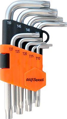 Фото - Набор ключей AV Steel Г-образных TORX T10-T50 9 предм. AV-367109 t50 b
