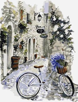 Картина по номерам Цветной ''На велосипеде по провансу'' (30 х 40) на подрамнике  me1082
