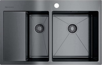 Кухонная мойка Omoikiri Akisame 78-2-GM-R вороненая сталь (4973102) кухонная мойка omoikiri akisame 78 gm r нерж сталь вороненая сталь 4973100