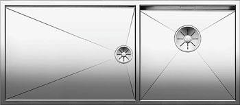 Кухонная мойка BLANCO ZEROX 400/550-Т-IF (чаша справа) нерж. сталь зеркальная полировка без клапана авт 521604 кухонная мойка blanco zerox 500 u нерж сталь зеркальная полировка без клапана авт 521589