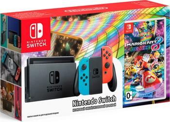 Игровая приставка Nintendo Switch (неоновый) Mario Kart 8 Deluxe 3d blu ray плеер samsung bd j5500
