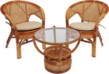 Комплект мебели Tetchair ''PELANGI'' 02/15 (стол со стеклом и 4 кресла) [без подушек] Цвет: honey (мед) 10084